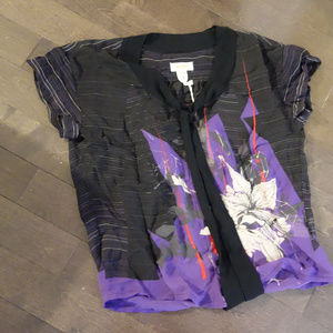 Diesel Black/Purple 100% Polyester Top Size M